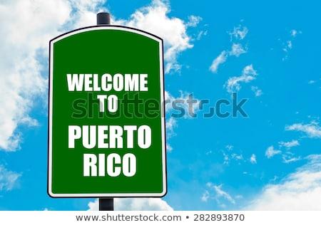 Сток-фото: Пуэрто-Рико · шоссе · знак · зеленый · облаке · улице · знак
