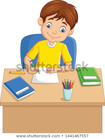 School boy writing in book Stock photo © lovleah