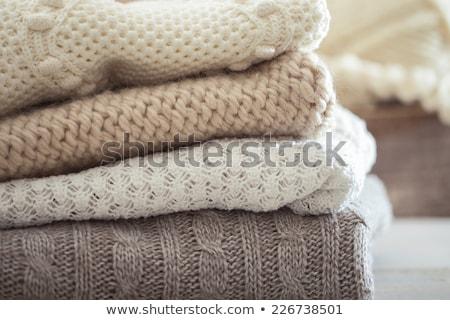 azul · a · rayas · lana · suéter · blanco - foto stock © foka