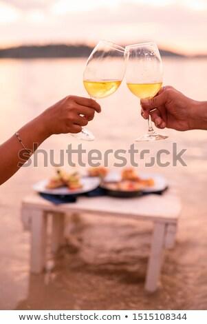 Para piknik winnicy kobieta wina szczęśliwy Zdjęcia stock © photography33