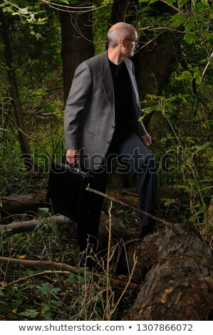 Businessman with briefcase lost in the wilderness Stock photo © photography33