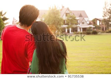 Pareja mirando modelo viviendas mujer Foto stock © photography33