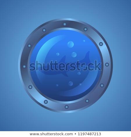 Ship porthole window with underwater scene, vector illustration Stock photo © carodi