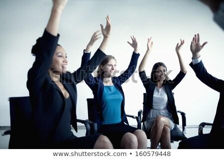 business · yoga · flexibele · zakenvrouw · laptop · computer · witte - stockfoto © dolgachov