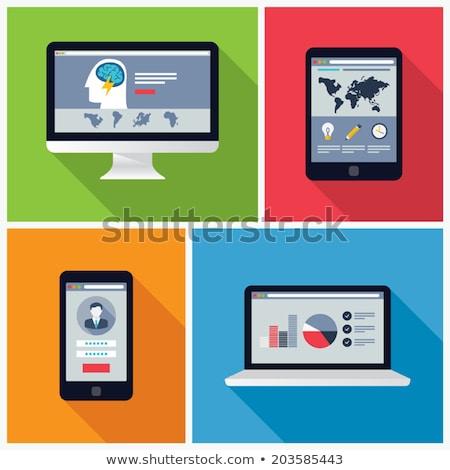 Stok fotoğraf: Ayarlamak · yeşil · modern · dizüstü · bilgisayarlar · yalıtılmış · beyaz