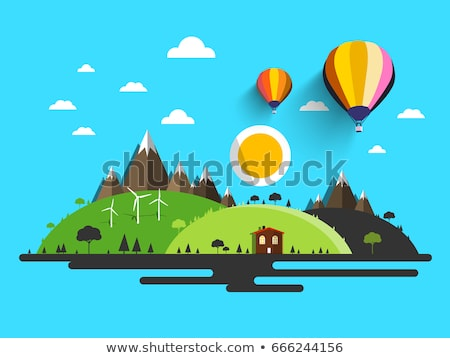 abstract background with wind power plant and hot air balloon stock photo © wad