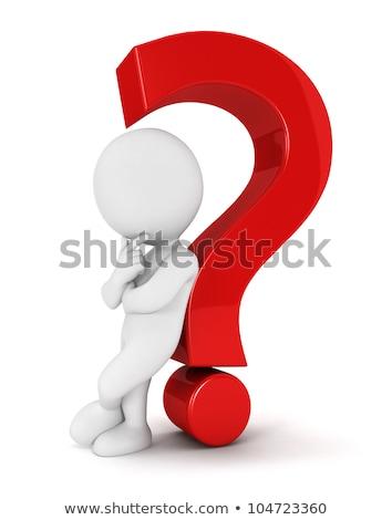 3d insanlar soru işareti gri iş imzalamak kırmızı Stok fotoğraf © Quka
