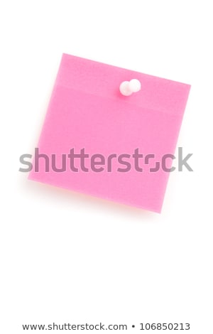Pink adhesive note with pushpin against a white background Stock photo © wavebreak_media