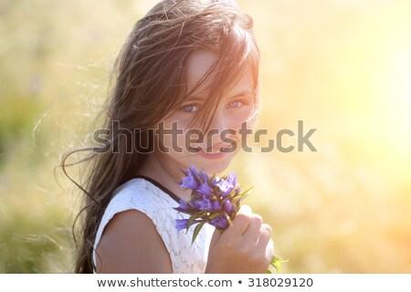 肖像 笑みを浮かべて ブルネット 風の強い 日 ストックフォト © dashapetrenko