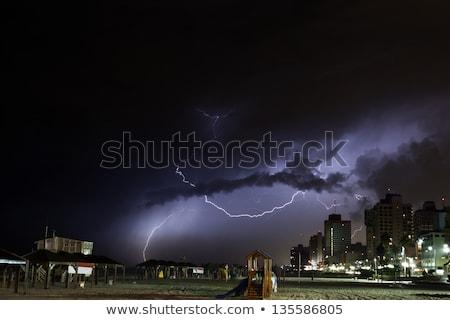 Plaj gök gürültüsü fırtına uğursuz fırtına bulutları kapak Stok fotoğraf © eldadcarin