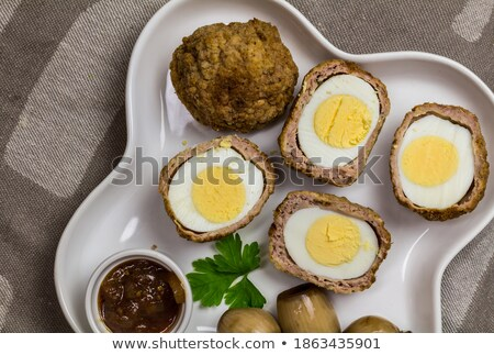 Mincemeat, onions and egg yolk Stock photo © vavlt