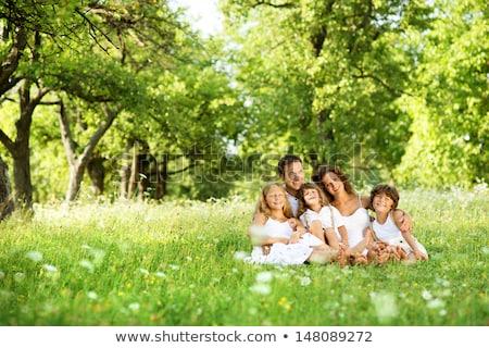 familia · sentarse · pradera · sonrisa · hierba · campo - foto stock © Paha_L