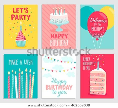 bolo · de · aniversário · cartão · projeto · modelo · bonitinho · velas - foto stock © get4net