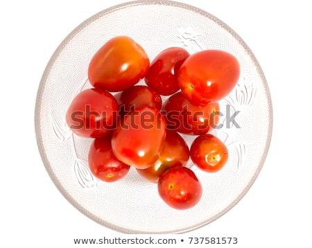 Stock fotó: Friss · piros · paradicsomok · üveg · tál · fa · asztal