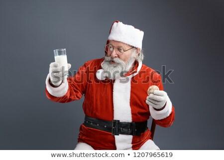 kerstman · glas · melk · christmas · cookies - stockfoto © hasloo
