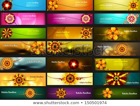 Raksha Bandhan celebration bright colorful 21 headers vector des Stock photo © bharat
