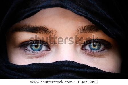 blue eyed veiled girl Stock photo © morrbyte