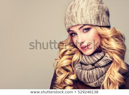 Beautiful trendy blond in winter fashion Stock photo © stryjek