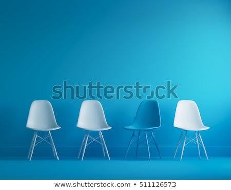 Сток-фото: синий · стульев · интерьер · мнение · современных