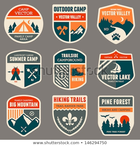 parc · vintage · badge · montagne · explorateur · étiquette - photo stock © mikemcd