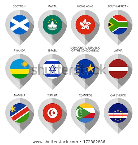 Stock photo: Map marker with flag-set tenth