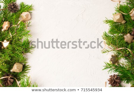christmas background with cones color balls and glass stock photo © elmiko