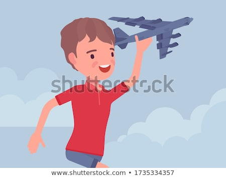 young boy is happy arriving with the aircraft Stock photo © meinzahn