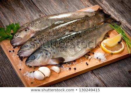 Surowy pokładzie gotować diety zdrowych owoce morza Zdjęcia stock © M-studio