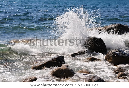 Stock photo: Boulder on the Shore with Waves Crashing