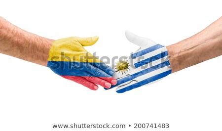 Kézfogás Colombia Uruguay kéz megbeszélés sport Stock fotó © Zerbor