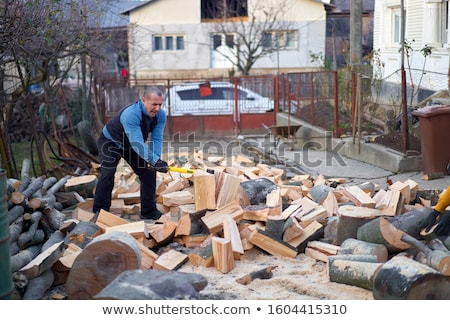 Man bijl wreed blauwe hemel hand mannen Stockfoto © 26kot