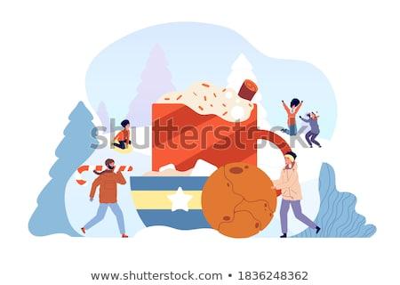 Stockfoto: Hot · drinken · voedsel · hout · koffie · winter
