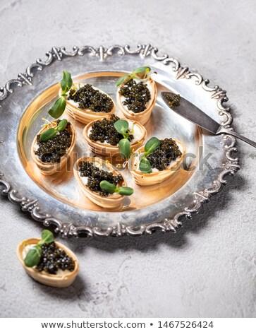 キャビア 前菜 食品 パン 黒 スプーン ストックフォト © M-studio
