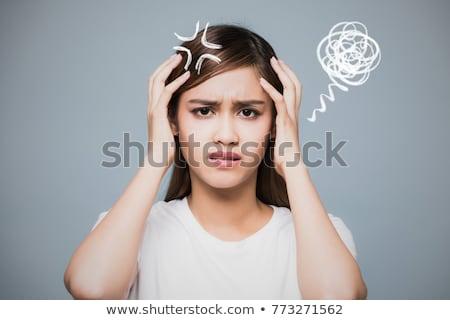 Desenho animado impaciente mulher mão projeto louco Foto stock © lineartestpilot