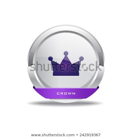 Kroon vector paars web icon knop Stockfoto © rizwanali3d