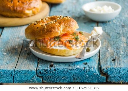 Simit krem peynir seçici odak ekmek Stok fotoğraf © zoryanchik