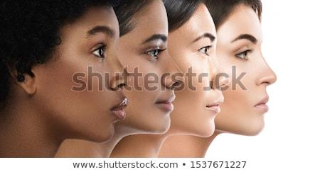 Stockfoto: Vrouw · gezichten · drie · iconen · toespraak · dacht