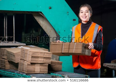 ストックフォト: 女性 · 工場労働者 · 作業 · キーを押します · マシン · セット