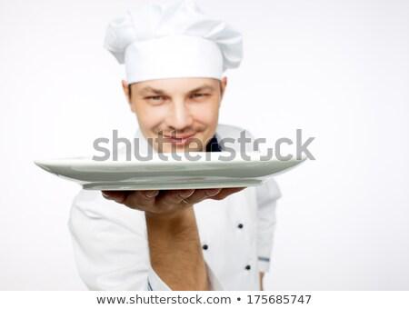 boldog · férfi · szakács · szakács · áll · tányér - stock fotó © dolgachov