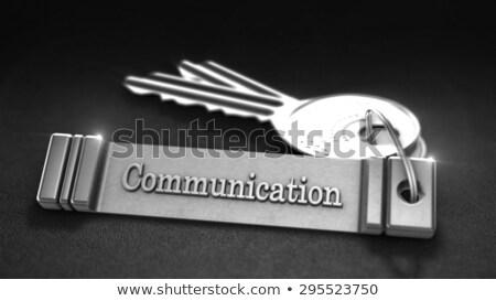 Comunicazione tasti nero tavolo in legno primo piano view Foto d'archivio © tashatuvango