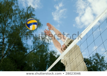 Férfi dob röplabda fölött net tengerpart Stock fotó © wavebreak_media