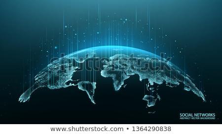 Dijital dünya dünya haritası tv duvar gölgeler Stok fotoğraf © axstokes