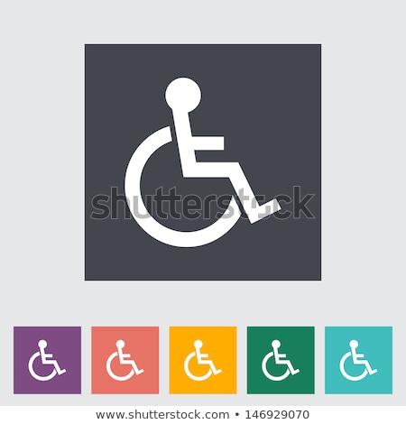 Wheel Chair Green Vector Icon Button Stock photo © rizwanali3d
