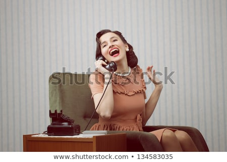retro telephone woman vintage wallpaper stock photo © lunamarina