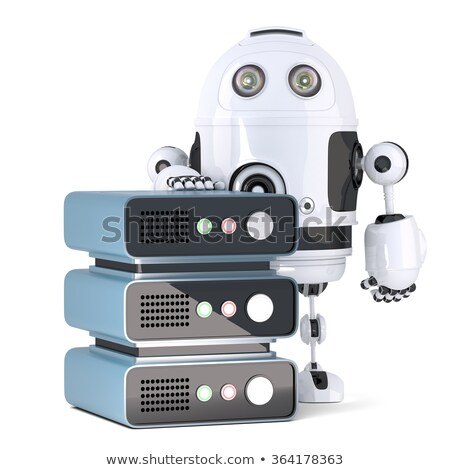 3d Robot with Server rack. Isolated. Contains clipping path Stock photo © Kirill_M