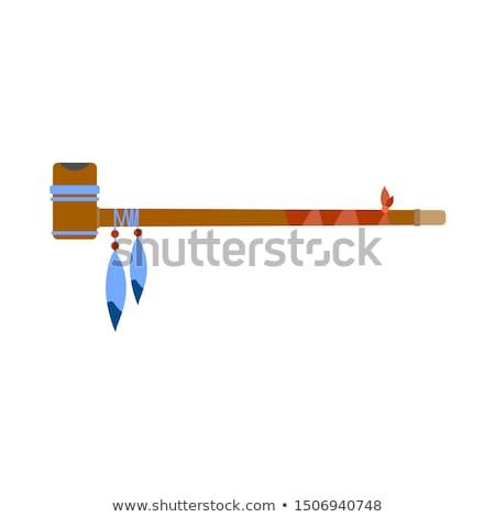 Fumare pipe selvatico ovest icone isolato Foto d'archivio © konturvid