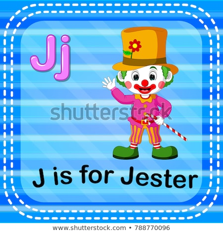 Flashcard letter J is for jester Stock photo © bluering