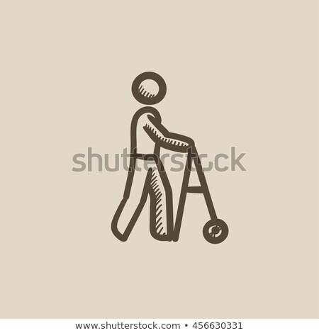 Man with walker sketch icon. Stock photo © RAStudio