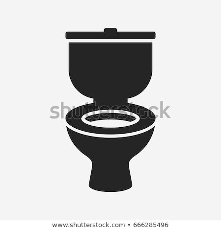 Toilettes bol icône gris vert chambre Photo stock © angelp