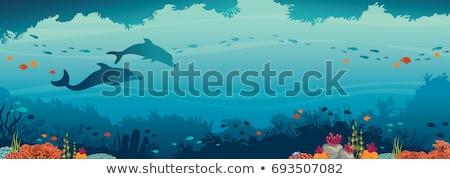 cartoon background of underwater life stock photo © rastudio